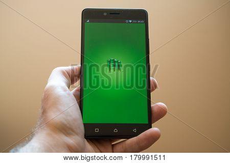 Nitra, Slovakia, March 24, 2017: PocketBook application logo on smartphone