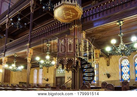 BUDAPEST HUNGARY - FEBRUARY 21 2016: Interior of the Great Synagogue or Tabakgasse Synagogue in Budapest Hungary. It is the largest synagogue in Europe and one of the largest in the world.