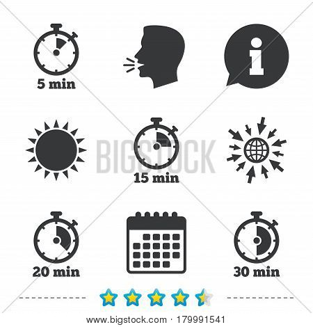 Timer icons. 5, 15, 20 and 30 minutes stopwatch symbols. Information, go to web and calendar icons. Sun and loud speak symbol. Vector