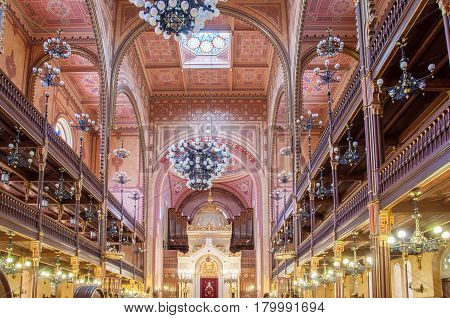 Interior Of The Great Synagogue Or Tabakgasse Synagogue In Budapest, Hungary