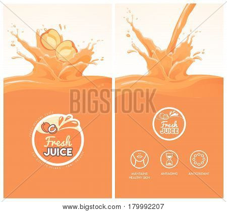 Drink menu with healthy apricot juice splash fruit icons and fresh juice badge