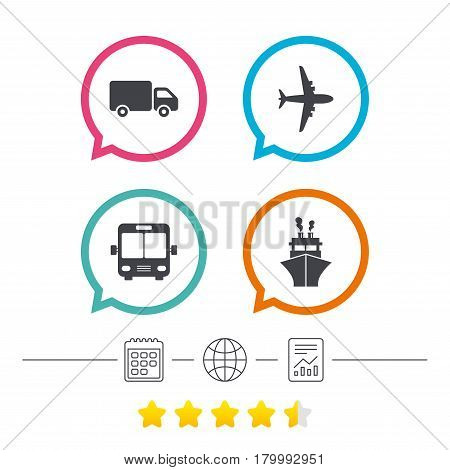 Transport icons. Truck, Airplane, Public bus and Ship signs. Shipping delivery symbol. Air mail delivery sign. Calendar, internet globe and report linear icons. Star vote ranking. Vector