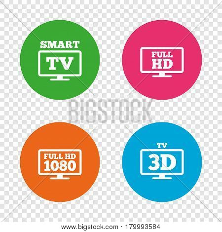 Smart TV mode icon. Widescreen symbol. Full hd 1080p resolution. 3D Television sign. Round buttons on transparent background. Vector
