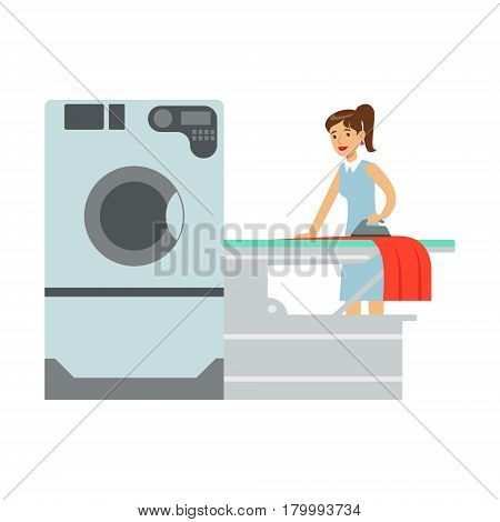 Woman Ironing Laundry, Part Of People Using Automatic Self-Service Laundromat Washing Machines Of Vector Illustrations. Person Taking Care Of The Clothes And Laundry Cartoon Drawing With Smiling Character.