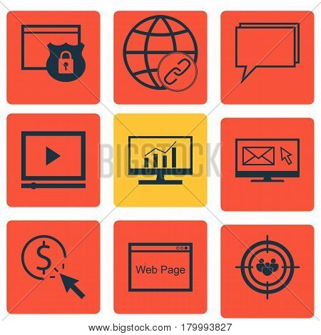 Set Of 9 Marketing Icons. Includes Market Research, Website, Focus Group And Other Symbols. Beautiful Design Elements.
