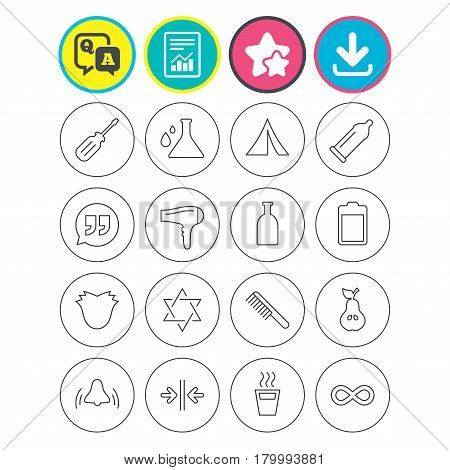 Report, download and star signs. Universal icons. Camping tent, bottle and hot coffee drink. Hair dryer, battery and david star. Screwdriver tool, quotes and camping tent. Vector
