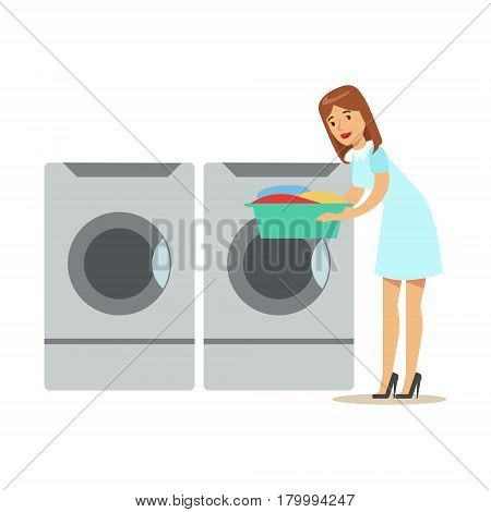 Woman Taking Out Clean Laundry, Part Of People Using Automatic Self-Service Laundromat Washing Machines Of Vector Illustrations. Person Taking Care Of The Clothes And Laundry Cartoon Drawing With Smiling Character.