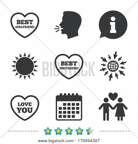 Valentine day love icons. Best girlfriend and boyfriend symbol. Couple lovers sign. Information, go to web and calendar icons. Sun and loud speak symbol. Vector