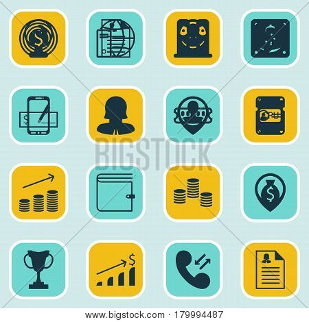 Set Of 16 Management Icons. Includes Business Deal, Curriculum Vitae, Money And Other Symbols. Beautiful Design Elements.