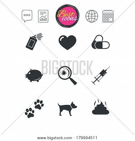 Chat speech bubble, report and calendar signs. Veterinary, pets icons. Dog paws, syringe and magnifier signs. Pills, heart and feces symbols. Classic simple flat web icons. Vector