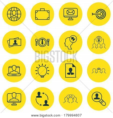 Set Of 16 Business Management Icons. Includes Arrow, Social Profile, Open Vacancy And Other Symbols. Beautiful Design Elements.