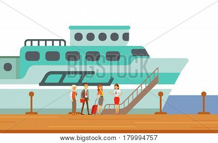 Passengers Boarding Touristic Liner Ship, Part Of People Taking Different Transport Types Series Of Cartoon Scenes With Happy Travelers. Travelling With Public Transportation Vector Simplified Scene.