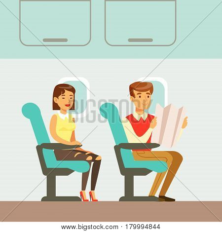 People Waiting For Departure In The Plane, Part Of People Taking Different Transport Types Series Of Cartoon Scenes With Happy Travelers. Travelling With Public Transportation Vector Simplified Scene.