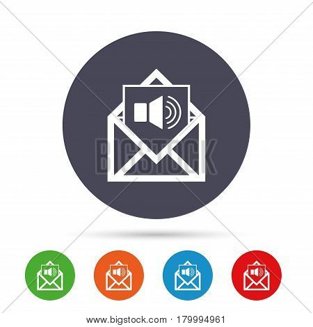 Voice mail icon. Speaker symbol. Audio message. Round colourful buttons with flat icons. Vector