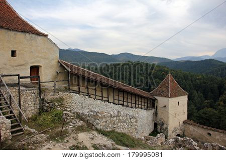 Defence walls and towers in Rasnov medieval stronghold, Brasov, Romania