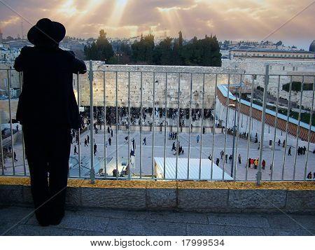 Orthodox Jewish looking to Western Wall in Jerusalem