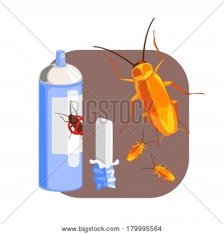 Can of cockroach insecticide and piece of chalk for the destruction of cockroach. Pest control service, detecting exterminating insects. Colorful cartoon illustration