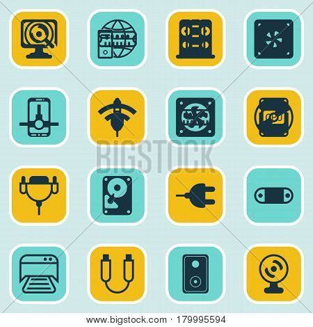Set Of 16 Computer Hardware Icons. Includes Wireless, Cd-Rom, Connector And Other Symbols. Beautiful Design Elements.