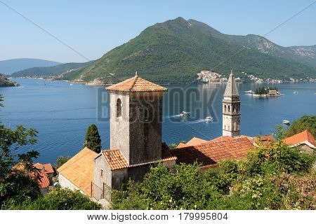 View of town Perast island of Saint George and Verige Strait in Kotor Bay Montenegro