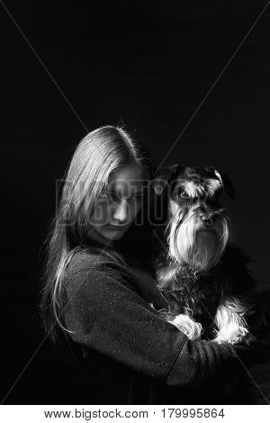 Portrait Of Girl Holding Dog