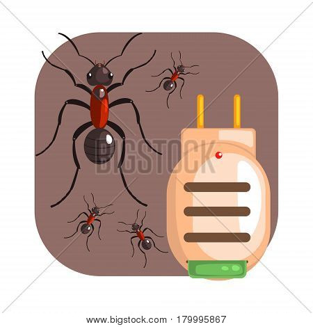 Electric anti ant fumigator. Pest control service, detecting exterminating insects. Colorful cartoon illustration