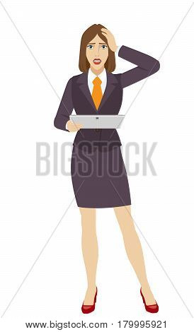 Businesswoman holding a digital tablet PC and grabbed his head. Full length portrait of businesswoman in a flat style. Vector illustration.