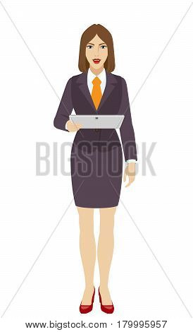 Businesswoman holding a digital tablet PC. Full length portrait of businesswoman in a flat style. Vector illustration.