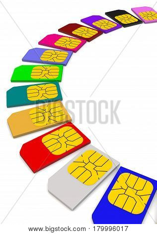 Multicolored SIM cards on white surface. Isolated. 3D Illustration