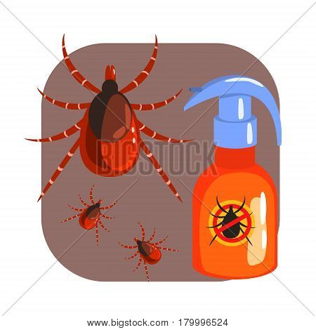 Orange sprayer of mite or tick insecticide and tick parasite. Pest control service, detecting exterminating insects. Colorful cartoon illustration isolated on a white background