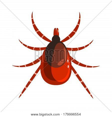Mite or tick dangerous parasite. Colorful cartoon character isolated on a white background