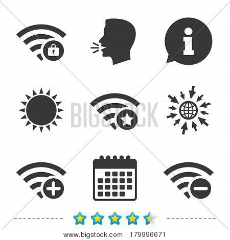 Wifi Wireless Network icons. Wi-fi zone add or remove symbols. Favorite star sign. Password protected Wi-fi. Information, go to web and calendar icons. Sun and loud speak symbol. Vector