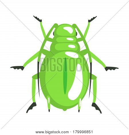 Green longhorn beetle colorful cartoon character isolated on a white background