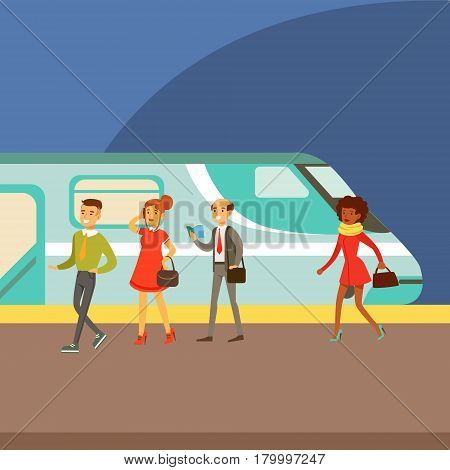 Passengers Boarding A Train At The Platform, Part Of People Taking Different Transport Types Series Of Cartoon Scenes With Happy Travelers. Travelling With Public Transportation Vector Simplified Scene.