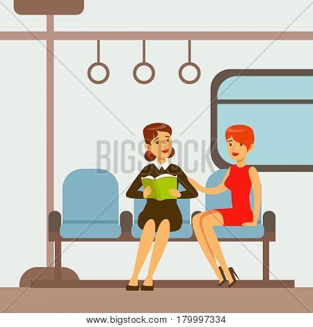 Two Women Sitting In Metro Train Car, Part Of People Taking Different Transport Types Series Of Cartoon Scenes With Happy Travelers. Travelling With Public Transportation Vector Simplified Scene.