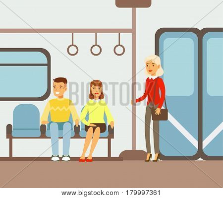 Passengers On Their Places In Metro Train Car, Part Of People Taking Different Transport Types Series Of Cartoon Scenes With Happy Travelers. Travelling With Public Transportation Vector Simplified Scene.