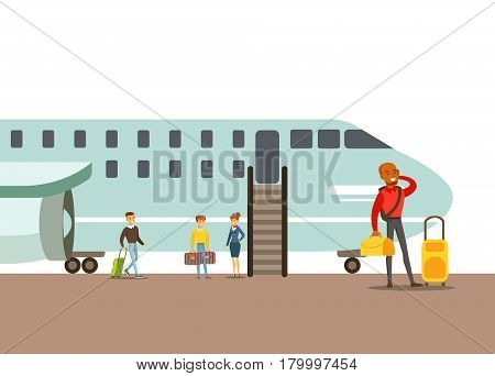 Passengers Boarding A Plane, Part Of People Taking Different Transport Types Series Of Cartoon Scenes With Happy Travelers. Travelling With Public Transportation Vector Simplified Scene.