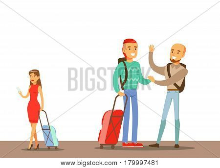 Passengers Saying Goodbyes In The Airport, Part Of People Taking Different Transport Types Series Of Cartoon Scenes With Happy Travelers. Travelling With Public Transportation Vector Simplified Scene.