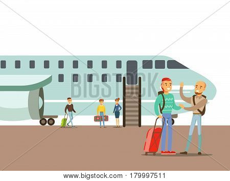 People Saying Goodbyes On The Airfield, Part Of People Taking Different Transport Types Series Of Cartoon Scenes With Happy Travelers. Travelling With Public Transportation Vector Simplified Scene.