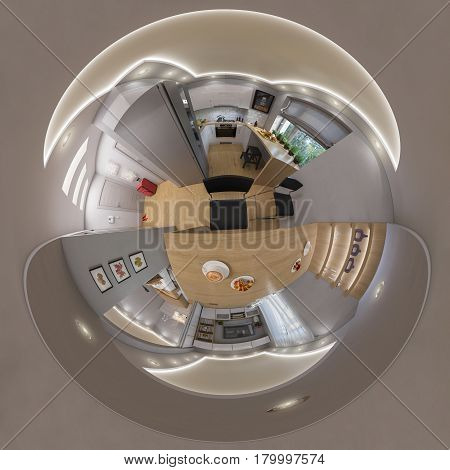 3d illustration spherical 360 degrees, seamless panorama of living room interior design. Modern studio apartment in the Scandinavian architectural style. Tiny little planet interior image