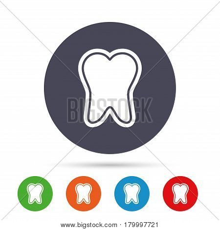 Tooth enamel protection sign icon. Dental toothpaste care symbol. Healthy teeth. Round colourful buttons with flat icons. Vector