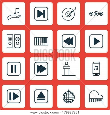 Set Of 16 Music Icons. Includes Following Song, Music Control, Skip Song And Other Symbols. Beautiful Design Elements.