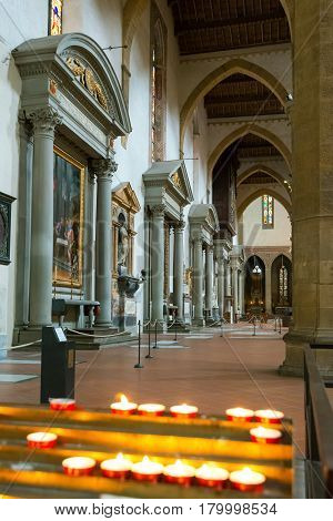 FLORENCE, ITALY - MAY 11, 2014: The interior of the Basilica of Santa Croce in Florence.