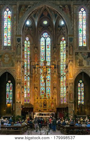 FLORENCE, ITALY - MAY 11, 2014: The interior of the Basilica of Santa Croce (Basilica of the Holy Cross) built in the 15th century. This is one of the main attractions of the city.