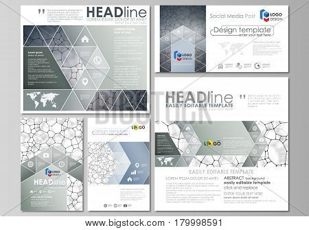 Social media posts set. Business templates. Easy editable abstract flat design template, vector layouts in popular formats. Chemistry pattern, molecular texture, polygonal molecule structure, cell. Medicine, science, microbiology concept.