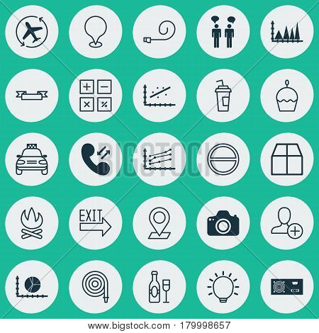 Set Of 25 Universal Editable Icons. Can Be Used For Web, Mobile And App Design. Includes Elements Such As Analytics, Bonfire, Pinpoint And More.