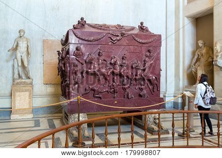 VATICAN - MAY 14, 2014: Sarcophagus of Helena (the mother of the emperor Constantine the Great) in the Museo Pio-Clementino, Rome, Italy.