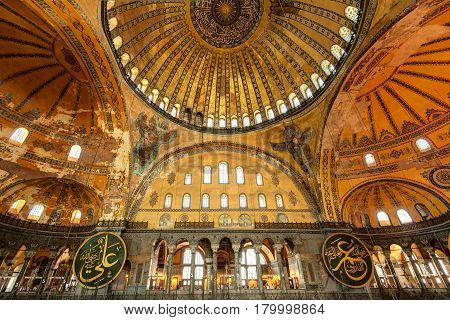 ISTANBUL - MAY 25, 2013: Interior of the Hagia Sophia in Istanbul, Turkey. Hagia Sophia is the greatest monument of Byzantine Culture.
