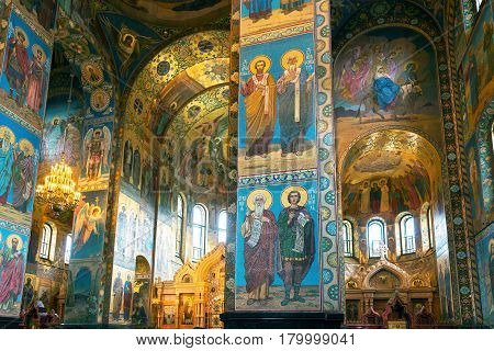 ST PETERSBURG, RUSSIA - JUNE 13, 2014: Interior of the Church of the Savior on Spilled Blood (Cathedral of the Resurrection of Christ). It is a unique monument to Alexander II the Liberator.