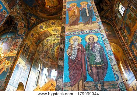 ST PETERSBURG, RUSSIA - JUNE 13, 2014: Interior of Church of the Savior on Spilled Blood (Cathedral of the Resurrection of Christ) in St. Petersburg Russia. It is an architectural landmark of city and a unique monument to Alexander II the Liberator.