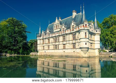The chateau de Azay-le-Rideau, France. This castle is located in the Loire Valley, was built from 1515 to 1527 one of the earliest French Renaissance chateaux.